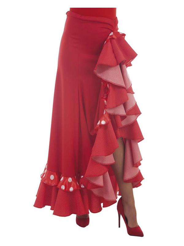 falda sevillana roja con topos