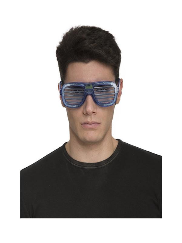 gafas de rejilla con luces azules