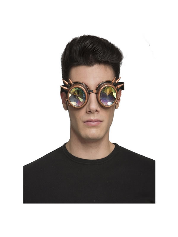 gafas de steampunk doradas con pinchos