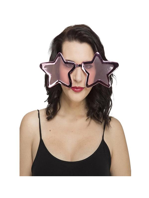 gafas gigantes de estrella rosas