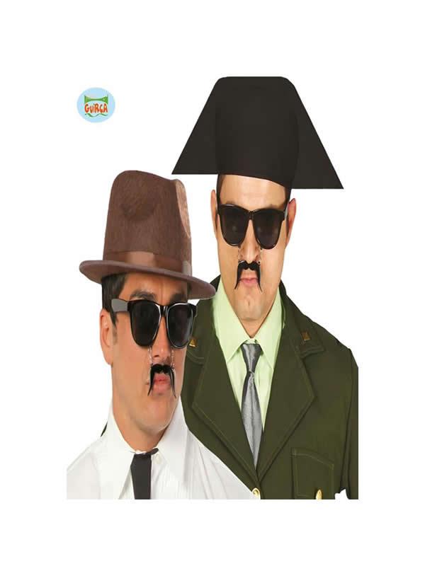 gafas negra con bigote