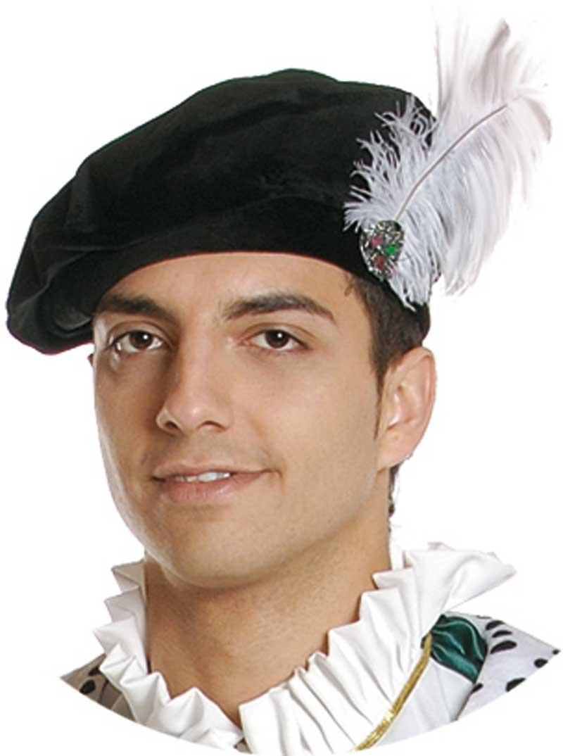 gorra de paje real con pluma