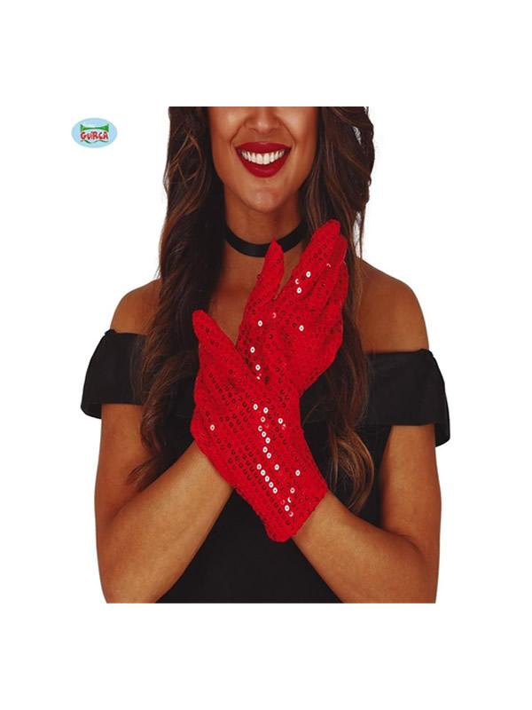 guantes cortos lentejuelas rojos 22 cms