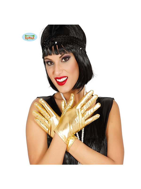 guantes cortos metalizado oro 22 cms