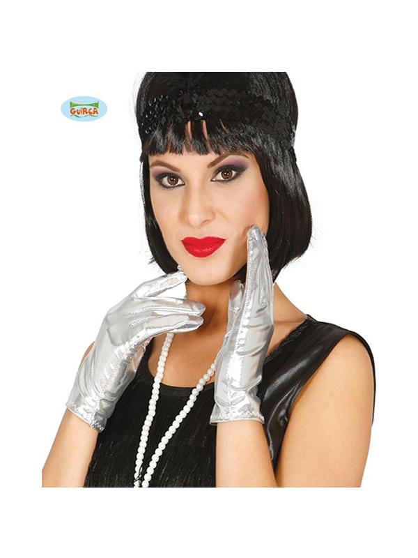 guantes cortos metalizado plata 22 cms