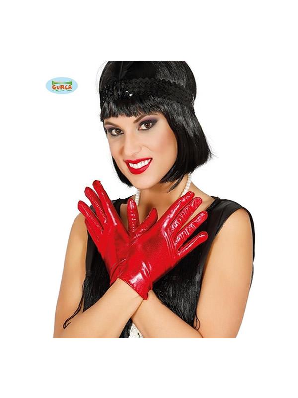 guantes cortos metalizado rojo 22 cms