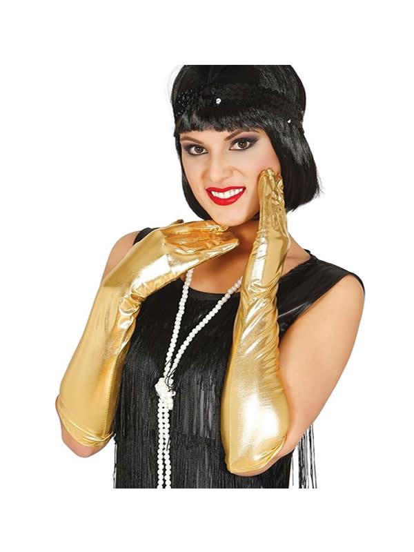 guantes largos metalizado oro 45 cms