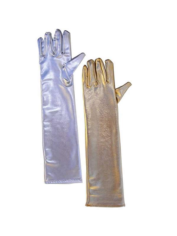 guantes largos metalizado varios colores 45 cms