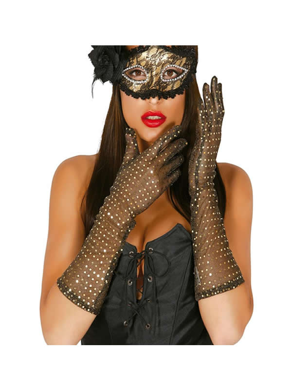 guantes lentejuelas oro 42 cm