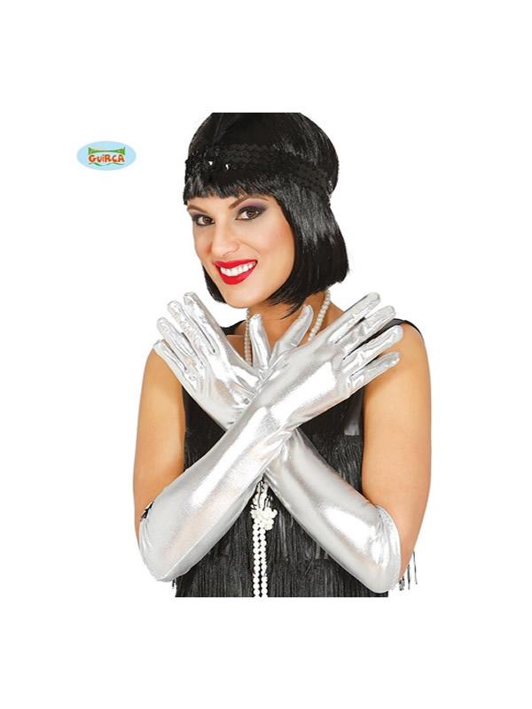 guantes metalizado plata 45 cms
