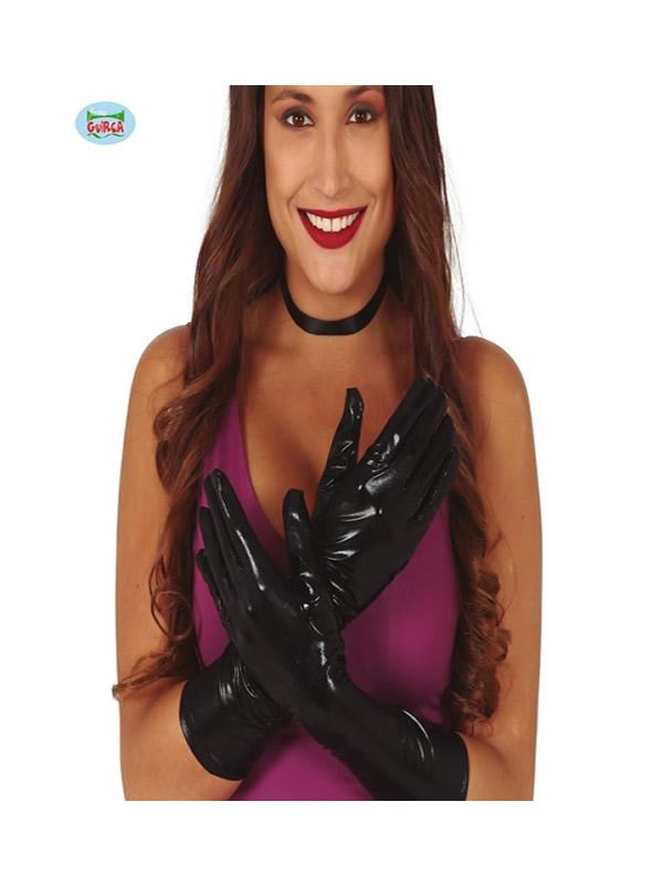 guantes metalizados negros 45 cms