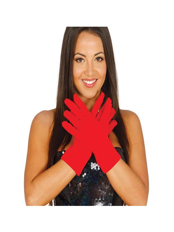 guantes rojos cortos 25 cm