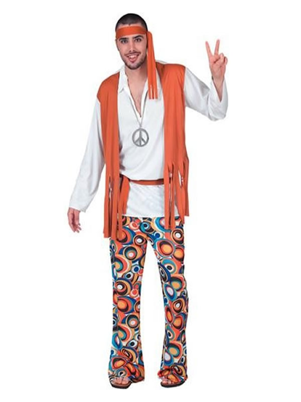 disfraz chico hippie chaleco para adulto