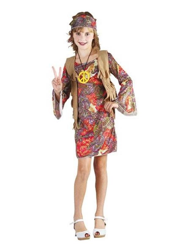 disfraz de hippie chaleco de niña