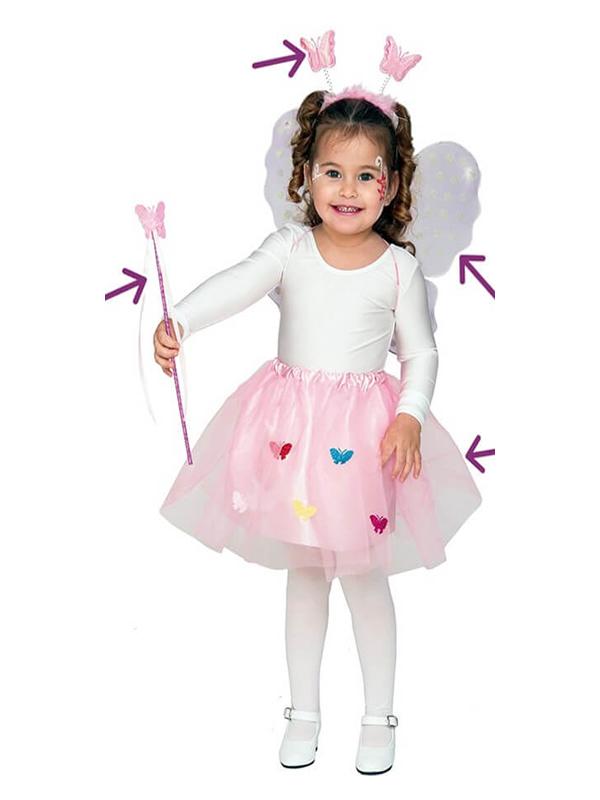 kit de ninfa rosa infantil alas tiara varita y falda