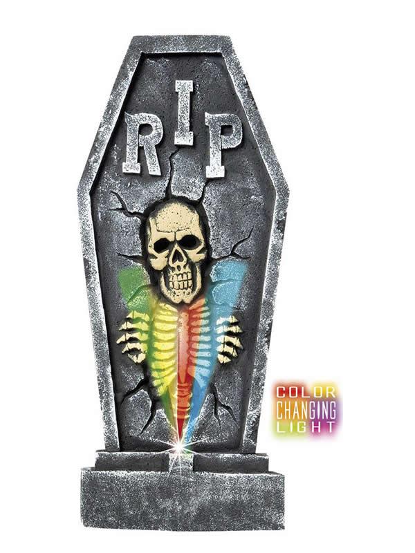 lapida de esqueleto con luces de color