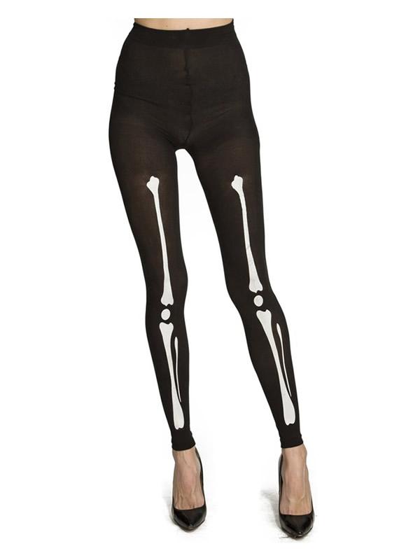 leggings negros de huesos esqueleto