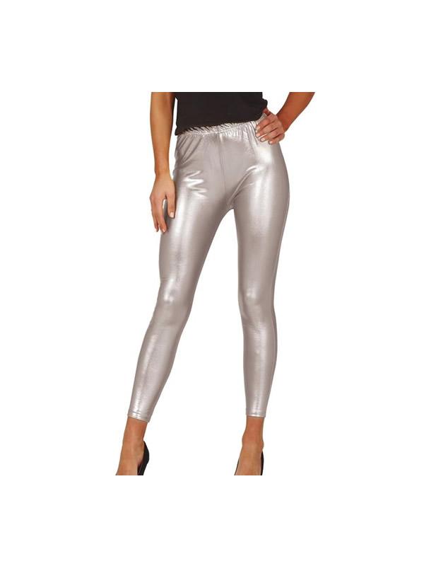 leggins metalizados plata