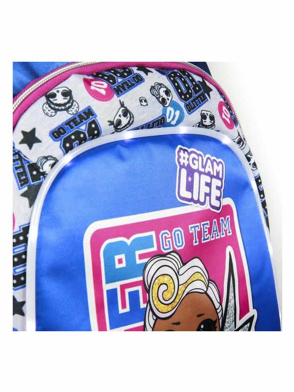 mochila lol con luces escolar azul 4