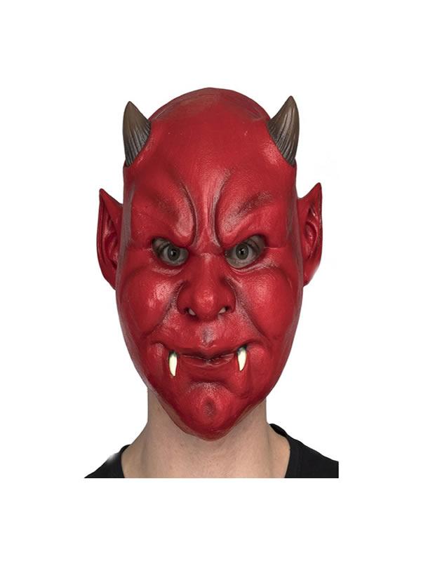 mascara de demonio rojo con colmillos