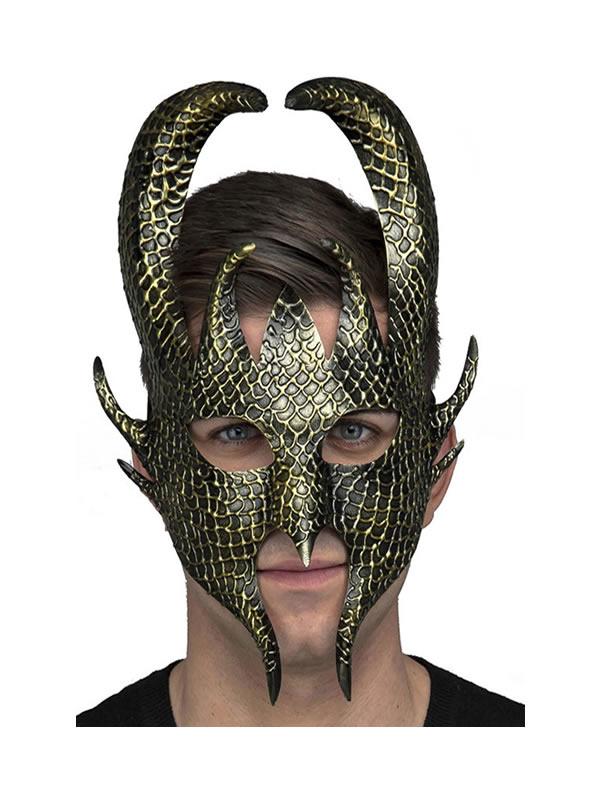 mascara de dios nordico en dorada