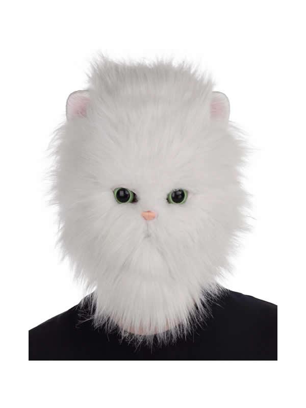 mascara de gato blanco persa con pelo