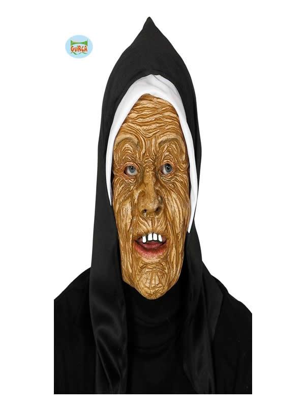 mascara de la monja con capucha pvc adulto