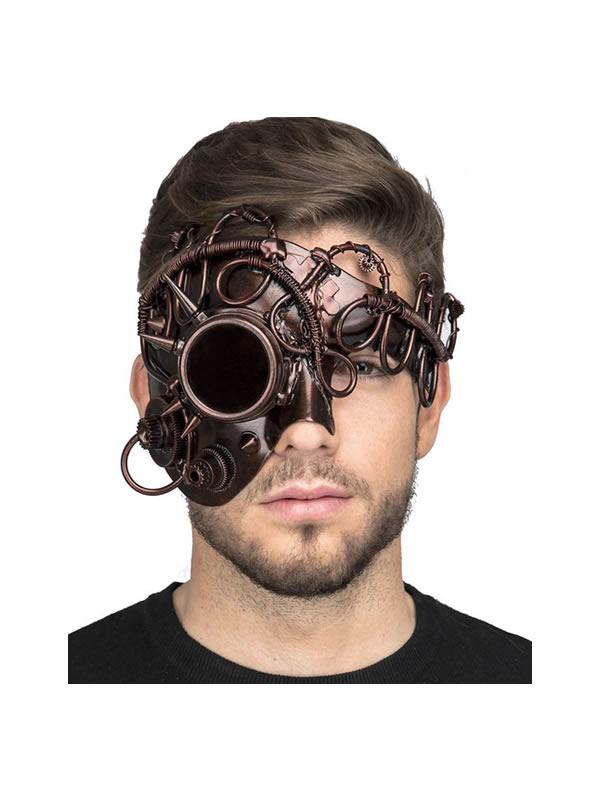 mascara steampunk marron con monoculo