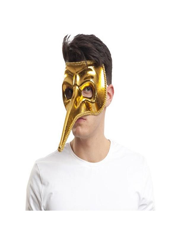 mascara veneciana con pico dorada