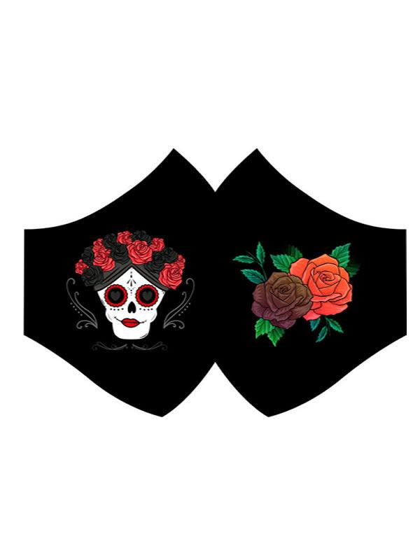 mascarilla de catrina flores higienica negra