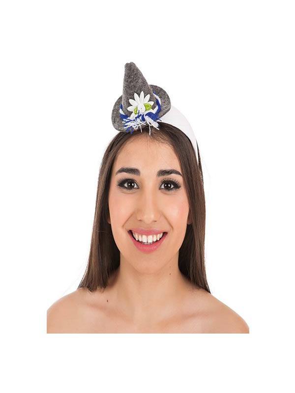 mini sombrero bavara gris para mujer