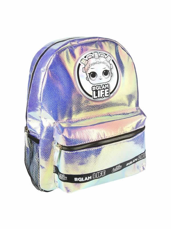 mochila de lila metalizada casual de las lol