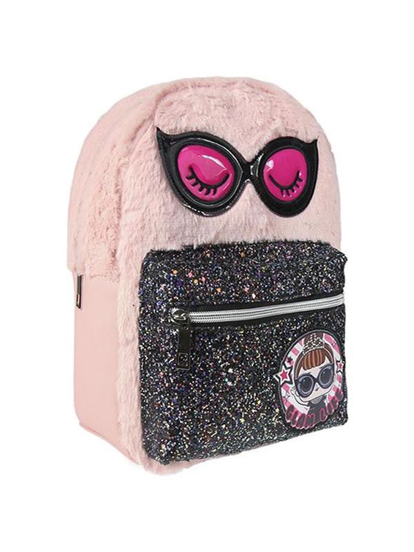 mochila de pelo rosa casual lol