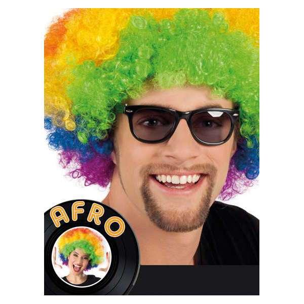 peluca hippie afro multicolor