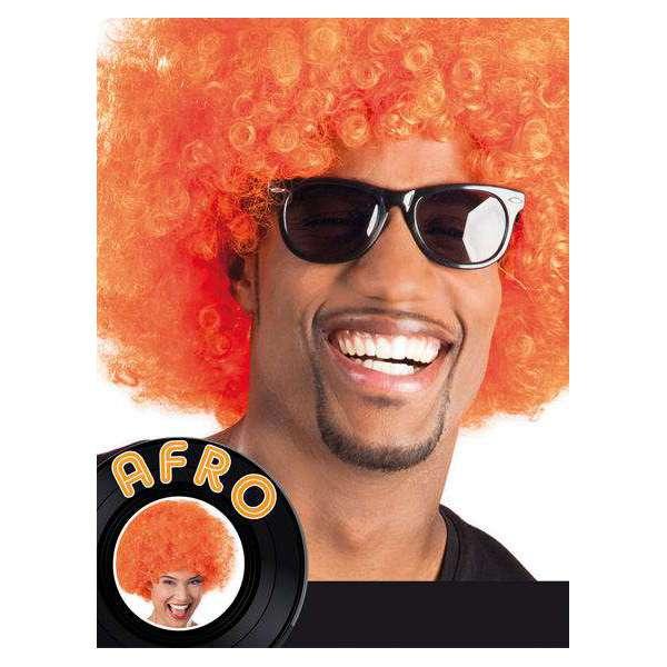 peluca afro gigante naranja