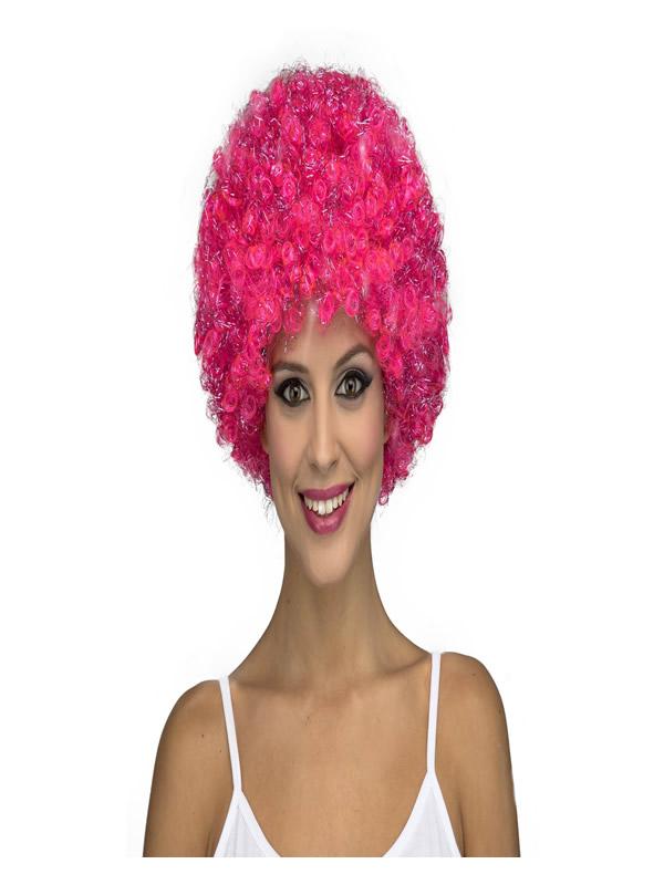 peluca rizada afro rosa