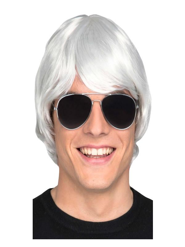peluca blanca corta hombre