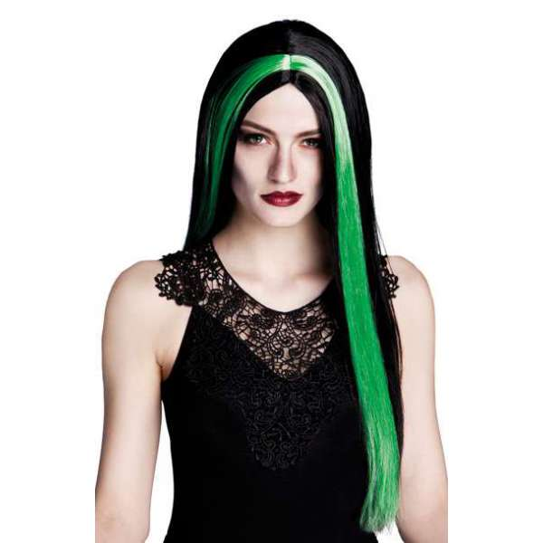 peluca bruja larga negro con mechon verde