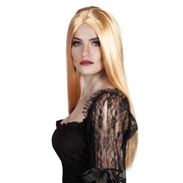 peluca bruja larga rubio