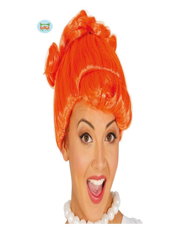 peluca cavernicola wilma naranja mujer