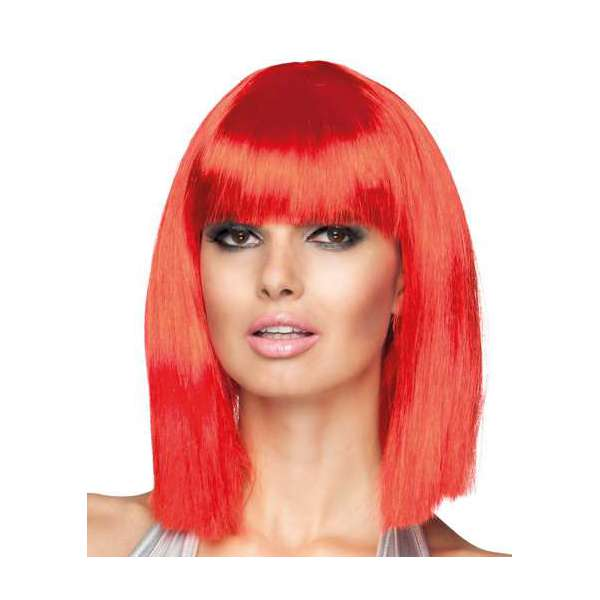 peluca corta con flequillo dance neon rojo