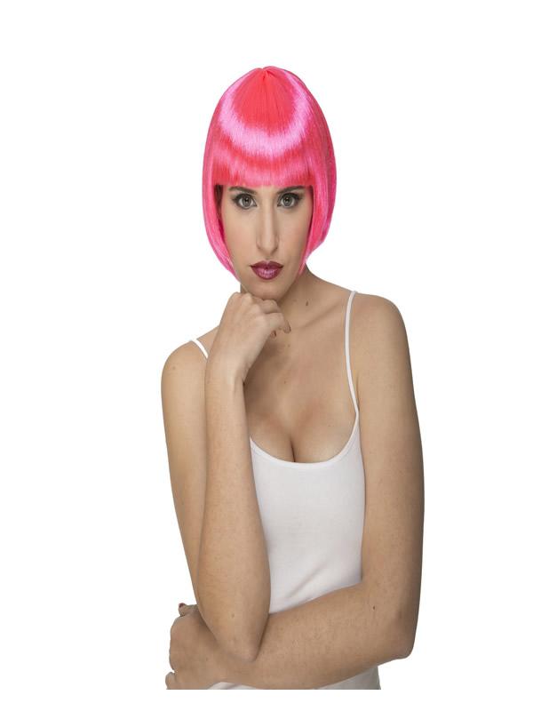 peluca corta con flequillo rosa