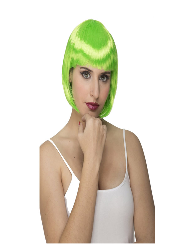 peluca corta con flequillo verde