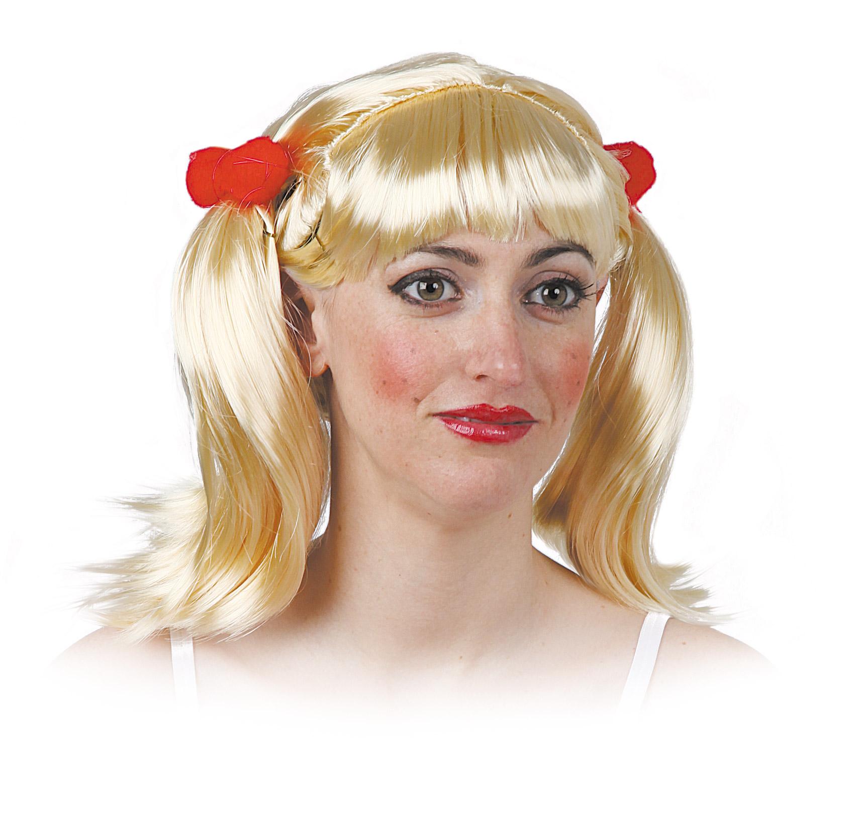 peluca de animadora con coletas varios colores
