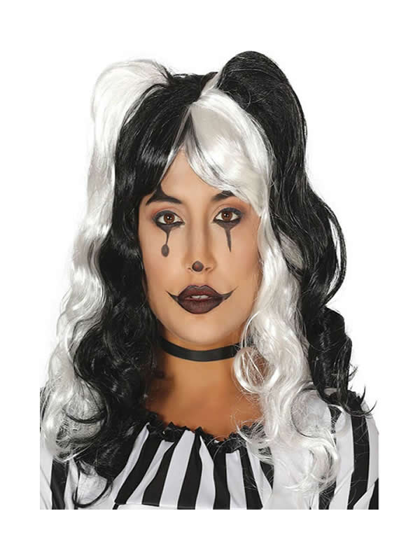peluca de arlequina blanca y negra