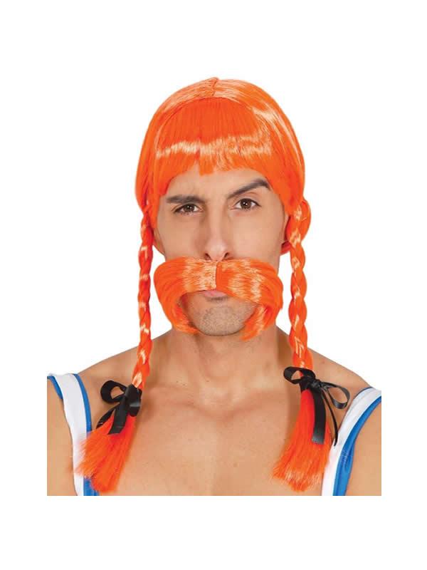 peluca de galo con trenzas naranja