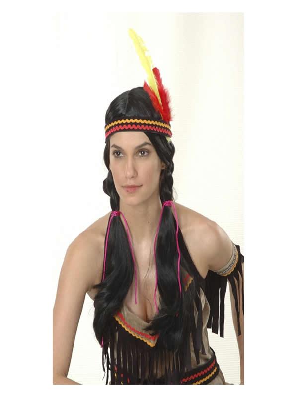 peluca de india coletas adulto