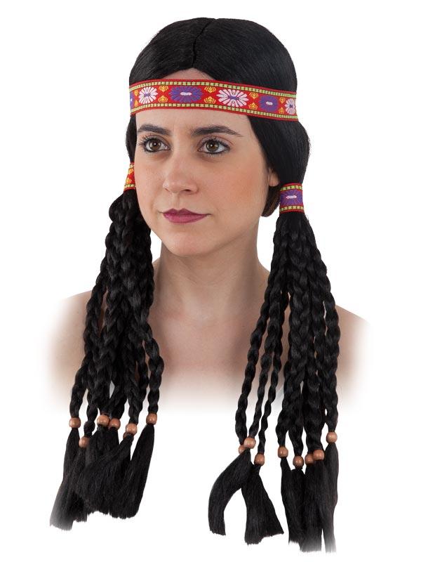 peluca de india con trenzas adulto