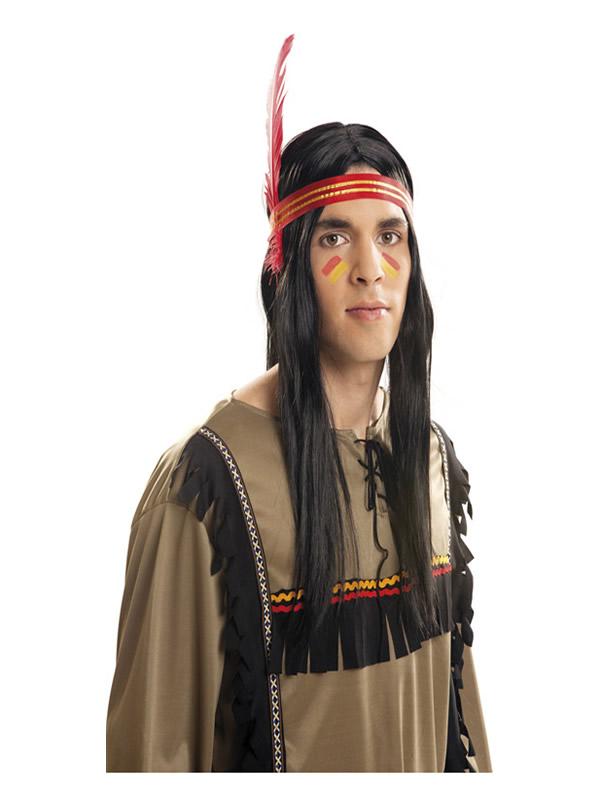peluca de indio o india negra lisa