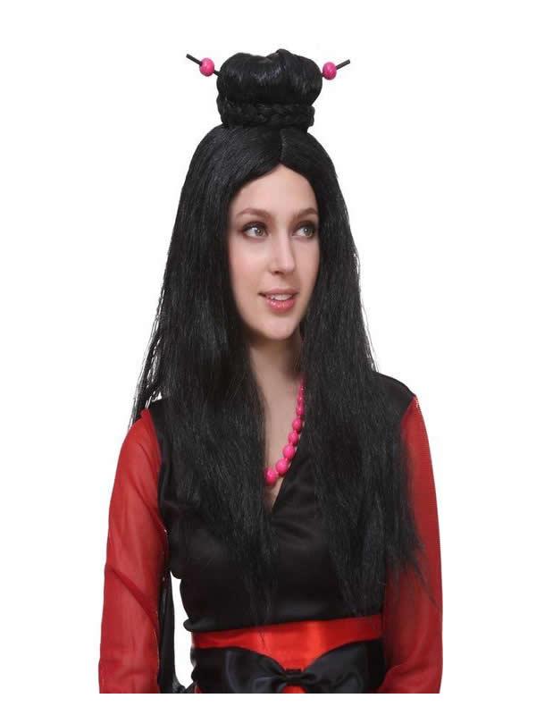peluca de japonesa negra larga adulto